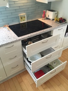 Kitchen drawers and induction cooktop